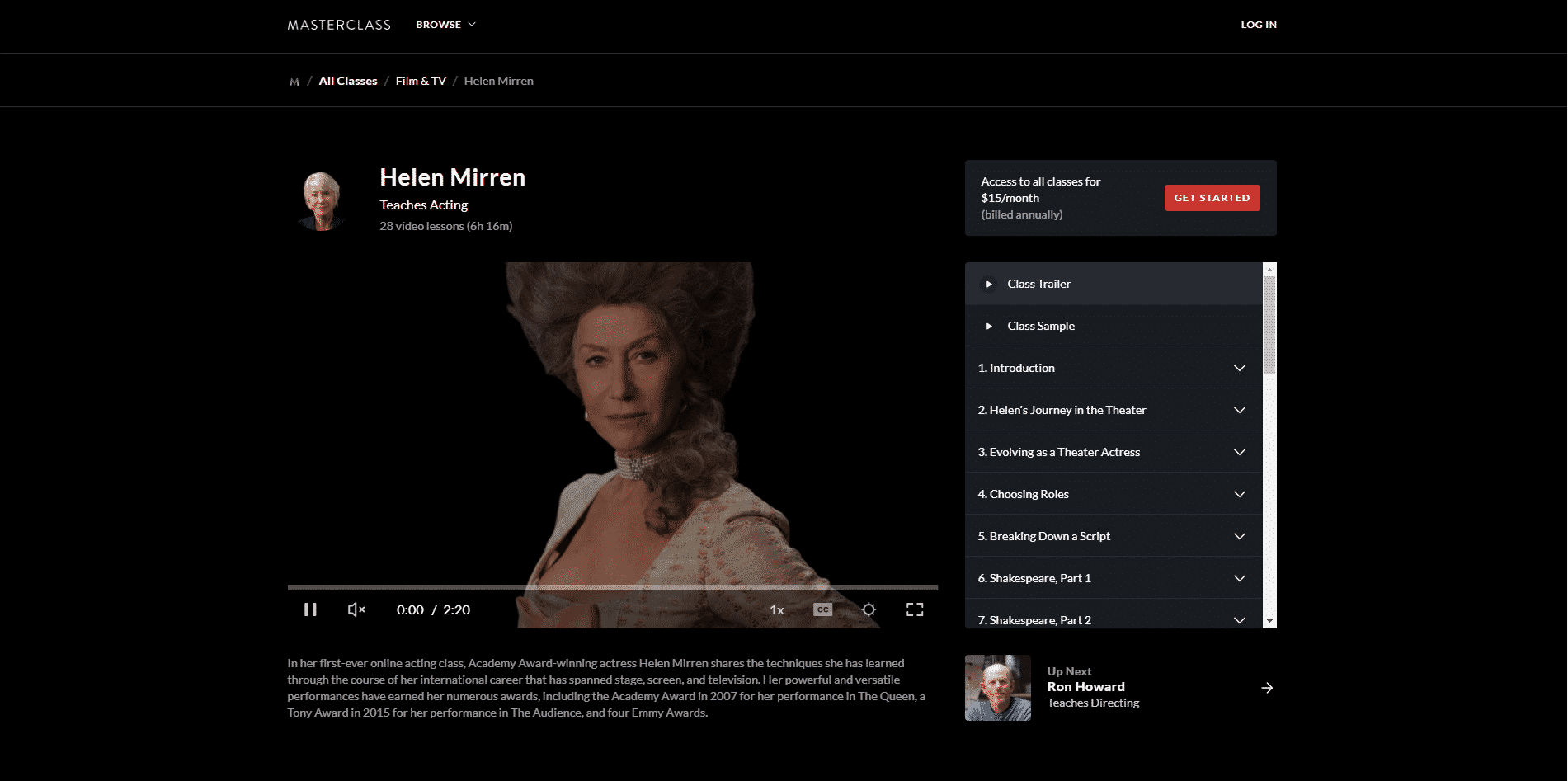MasterClass Helen Mirren Acting Lessons for Beginners