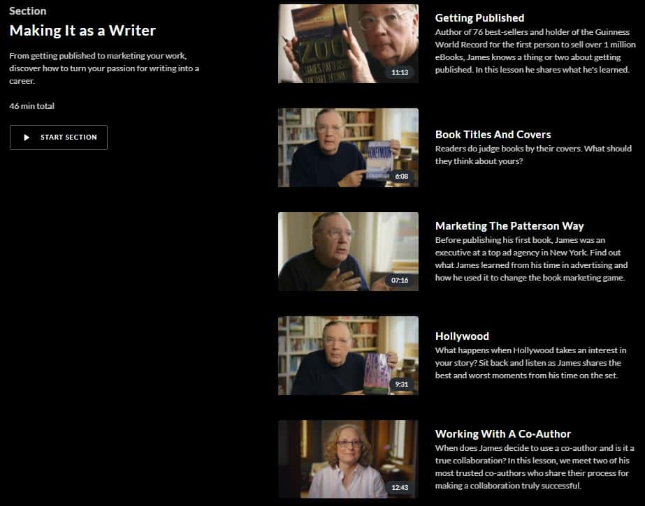 MasterClass James Patterson Making It as a Writer