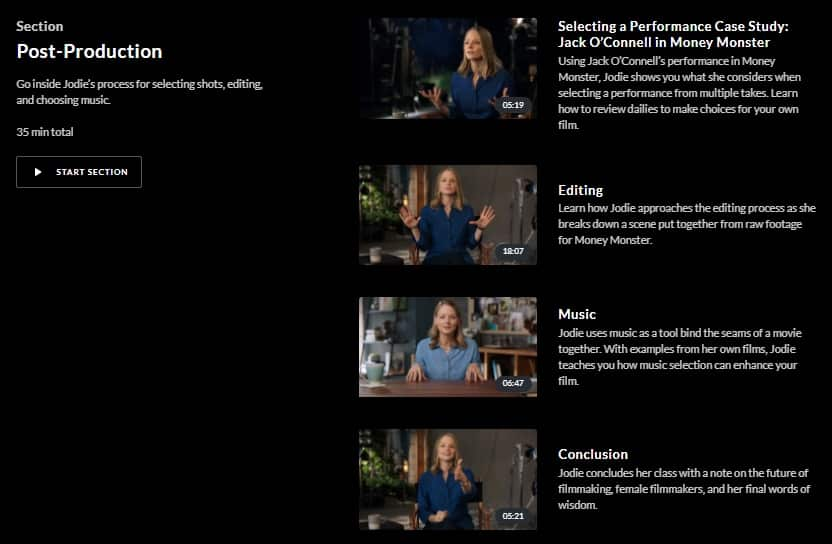 MasterClass Jodie Foster Post-Production