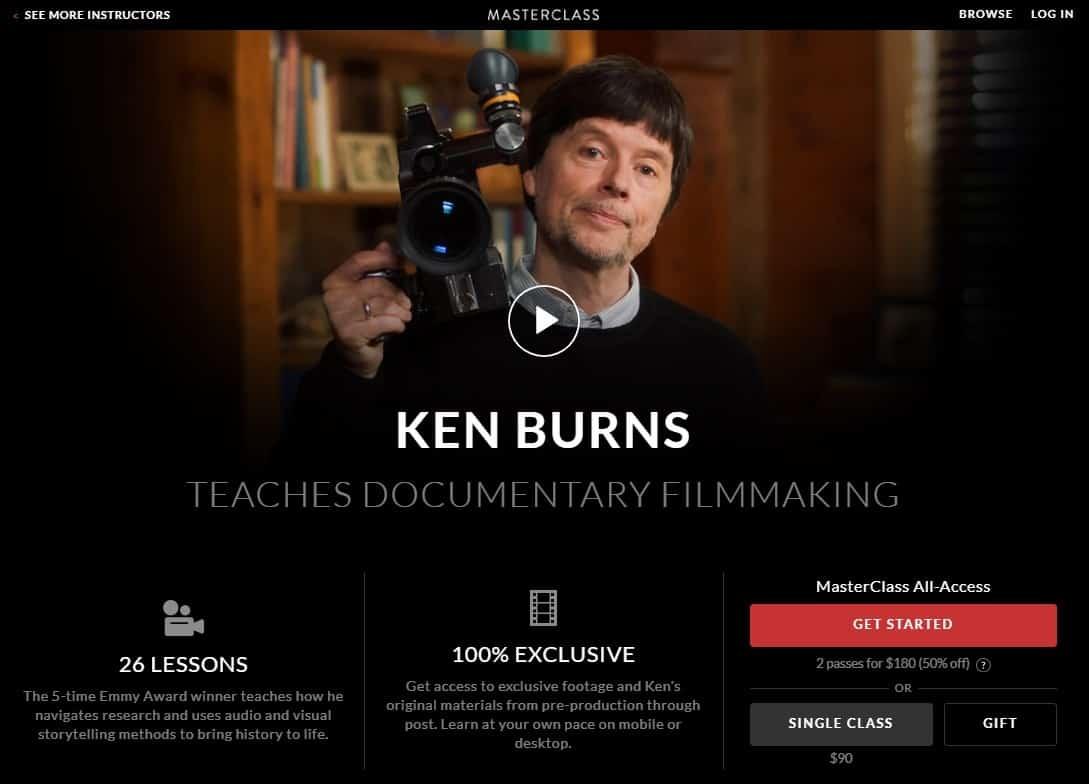 MasterClass Ken Burns Documentary Filmmaking Lesson Review