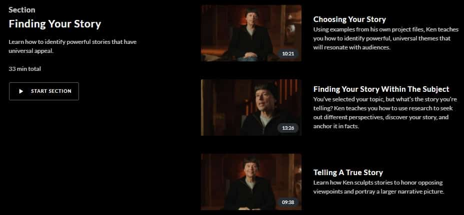 MasterClass Ken Burns Finding Story