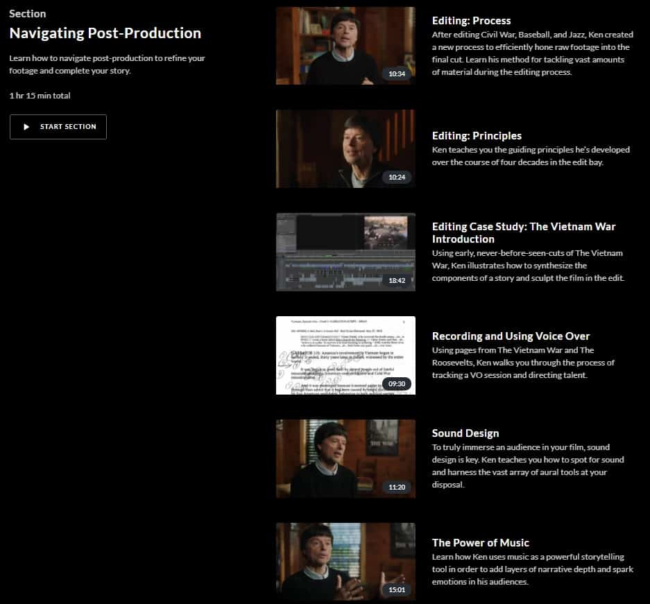 MasterClass Ken Burns Navigating Post-Production