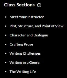 MasterClass Margaret Atwood Class Sections