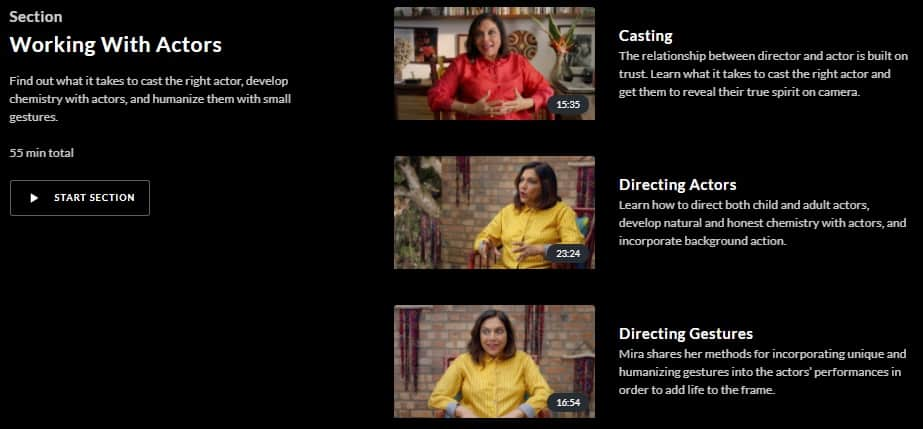 MasterClass Mira Nair Working With Actors