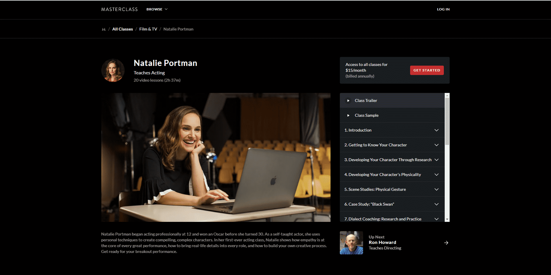 MasterClass Natalie Portman Acting Lessons for Beginners