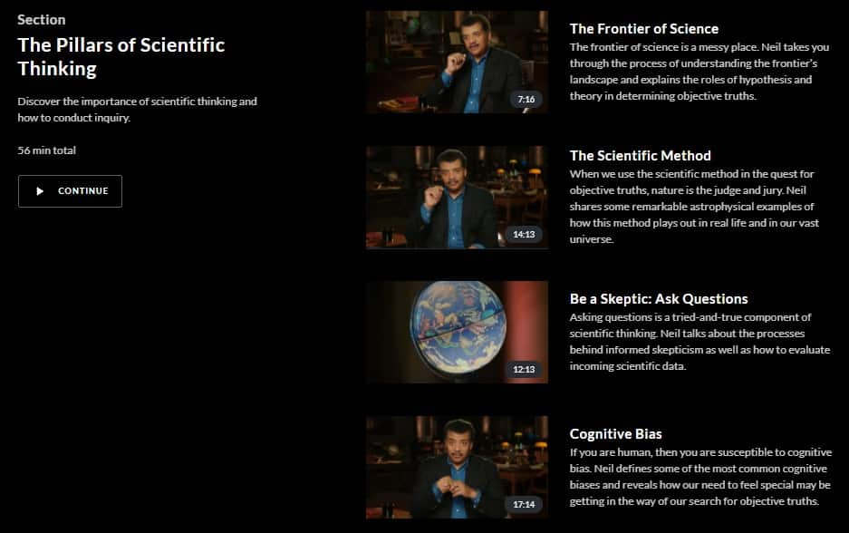 MasterClass Neil Degrasse Tyson Pillars of Scientific Thinking