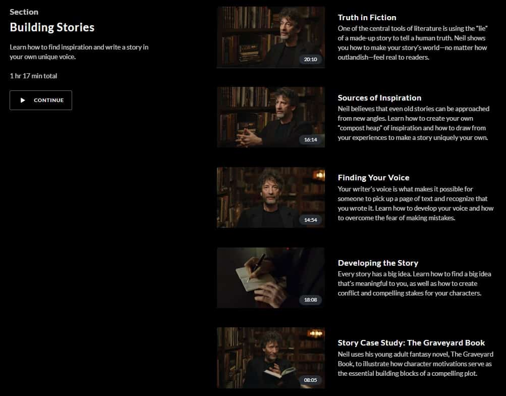 MasterClass Neil Gaiman Building Stories