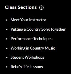 MasterClass Reba McEntire Class Sections