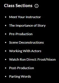 MasterClass Ron Howard Class Sections
