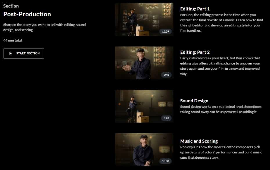 MasterClass Ron Howard Post-Production