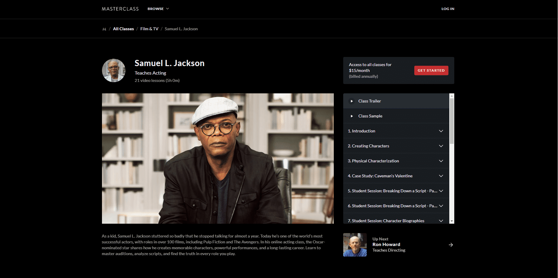 MasterClass Samuel L. Jackson Acting Lessons for Beginners
