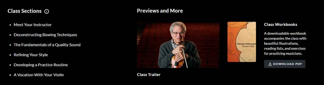 Masterclass violin class sections