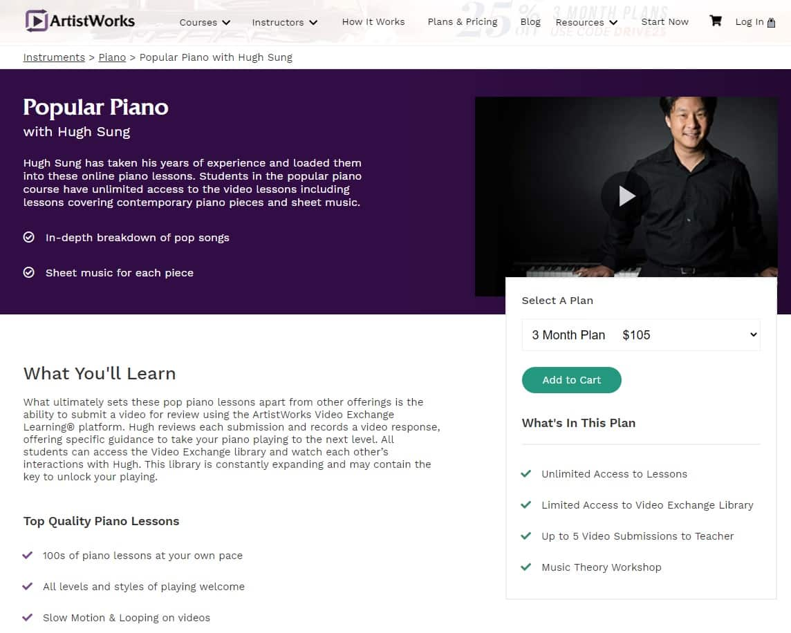 ArtistWorks Hugh Sung Popular Piano Lessons for Beginners