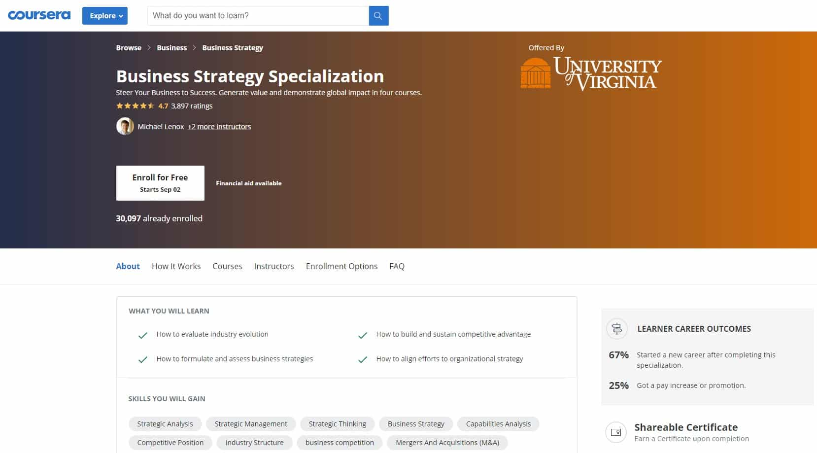 Coursera 1 Business Strategy Lessons for Beginners