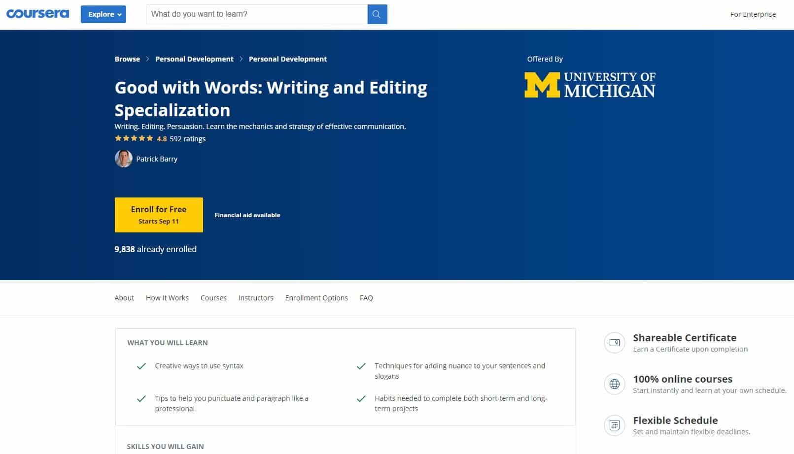 Coursera 3 Writing Lessons for Beginners