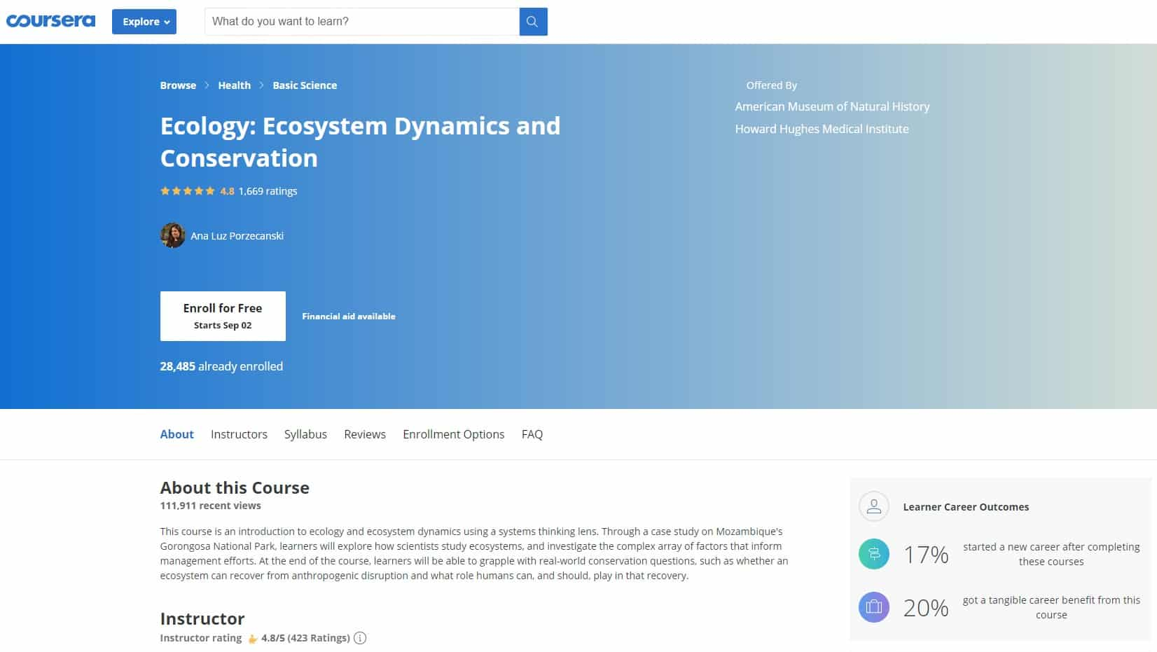 Coursera Conservation Lessons for Beginners