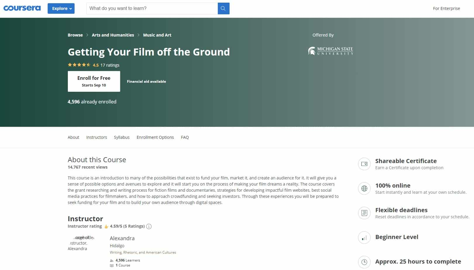 Coursera Filmmaking Lessons for Beginners