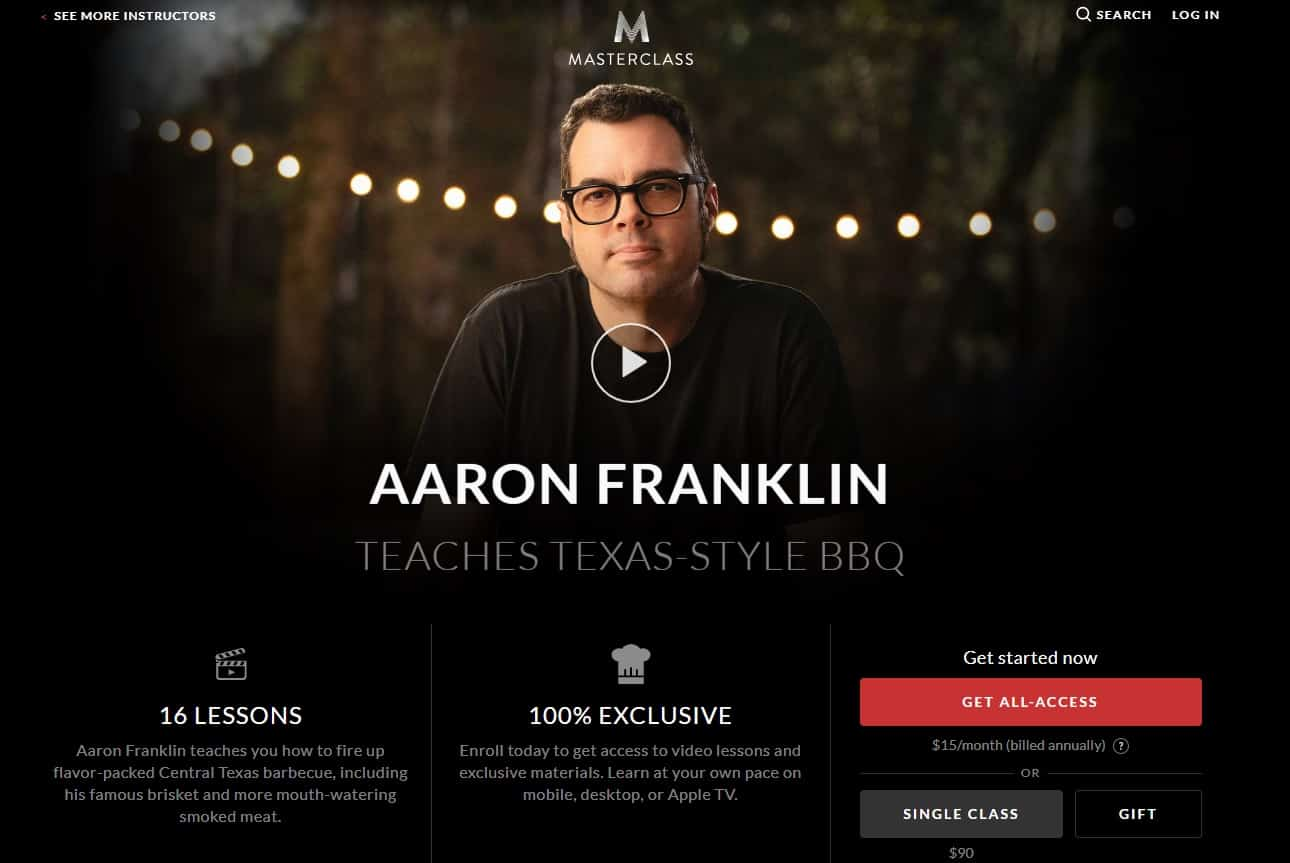 MasterClass Aaron Franklin Texas Style BBQ Lessons for Beginners