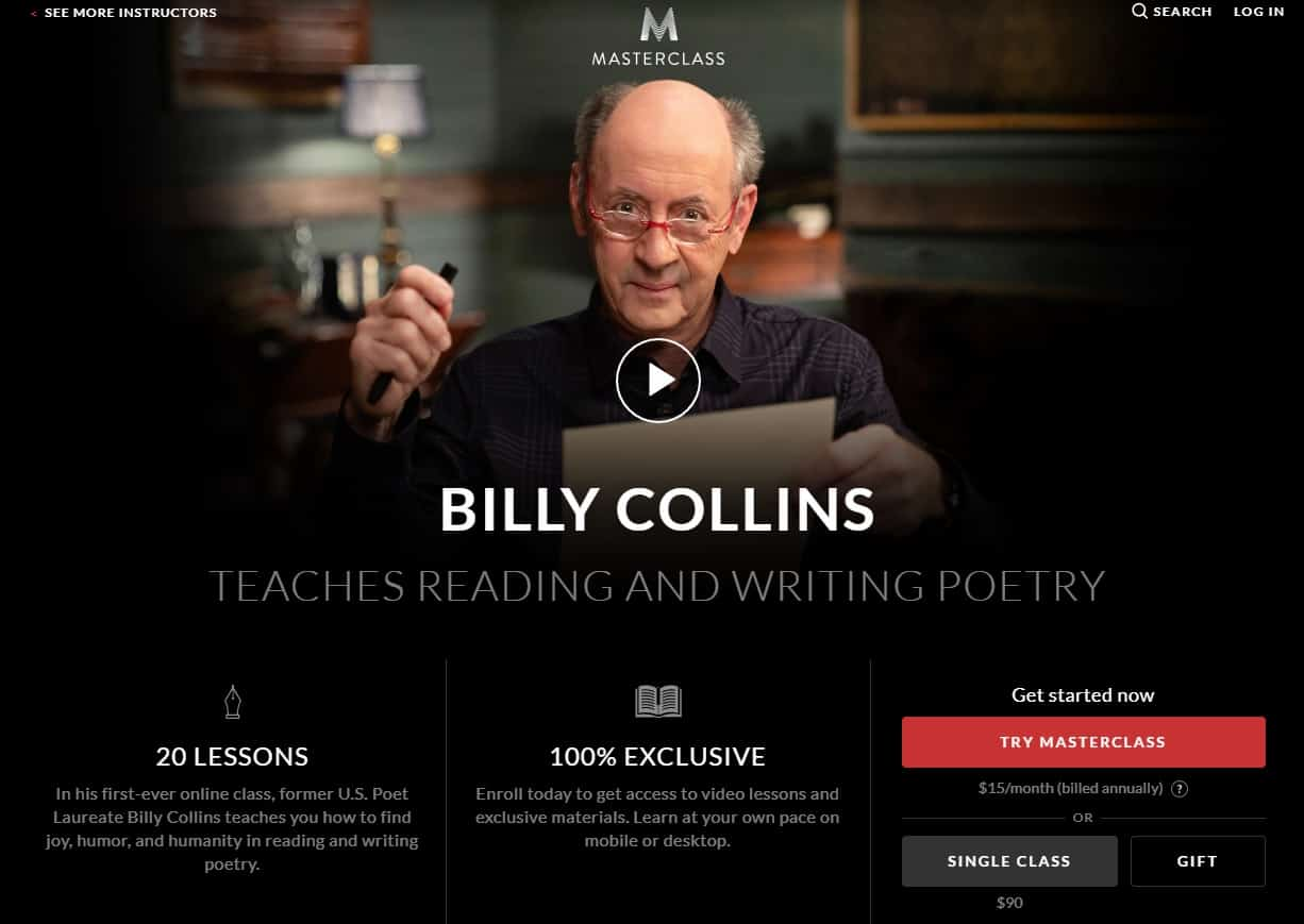 MasterClass Billy Collins Reading and Writing Poetry Lessons for Beginners