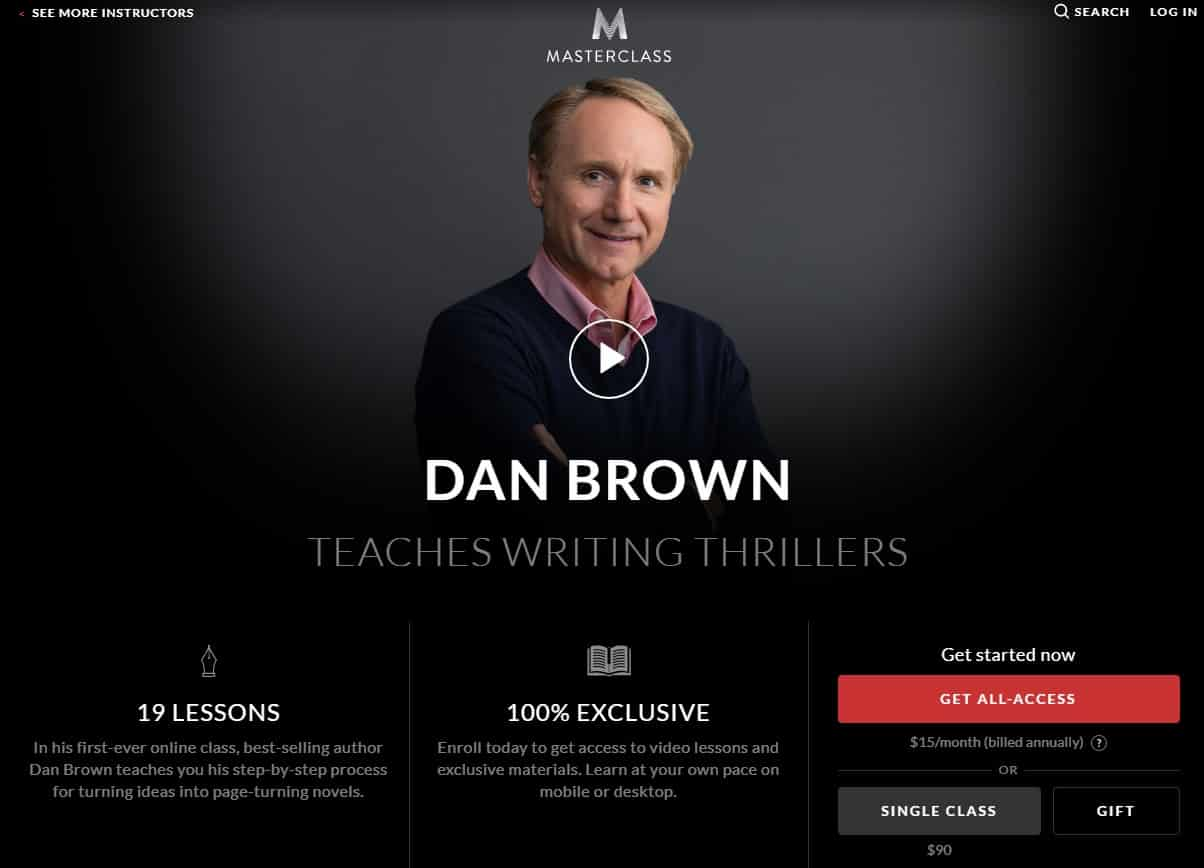 MasterClass Dan Brown Writing Thrillers Lessons for Beginners