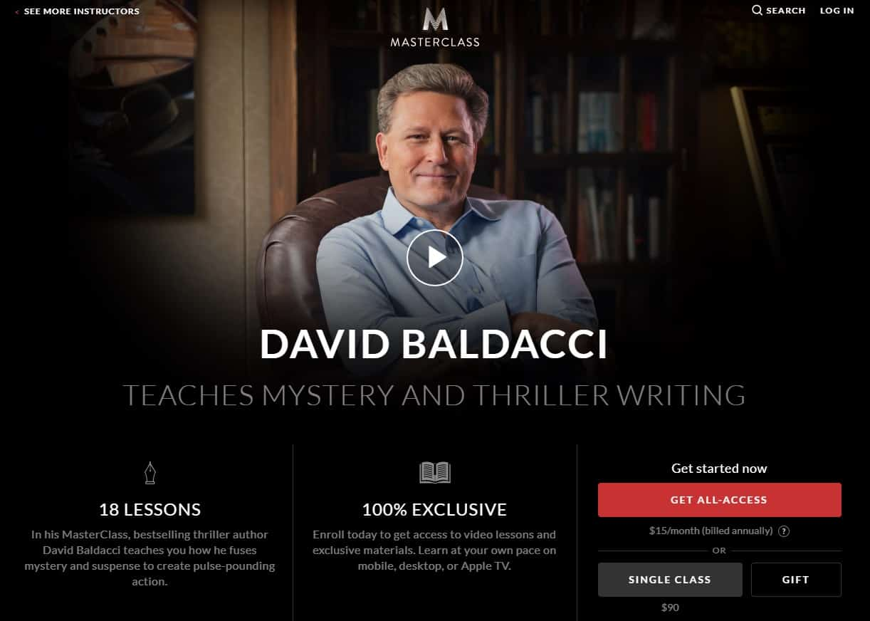 MasterClass David Baldacci Mystery and Thriller Writing Lessons for Beginners