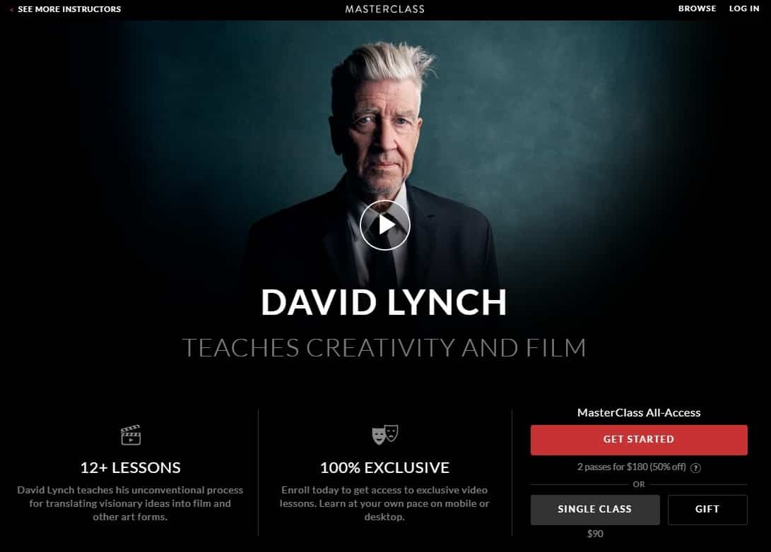 MasterClass David Lynch Creativity and Film Lessons for Beginners
