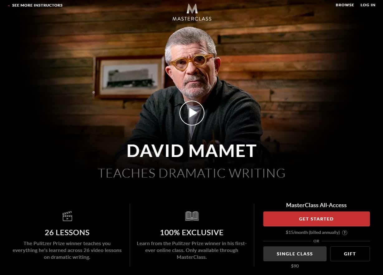 MasterClass David Mamet Dramatic Writing Lessons for Beginners