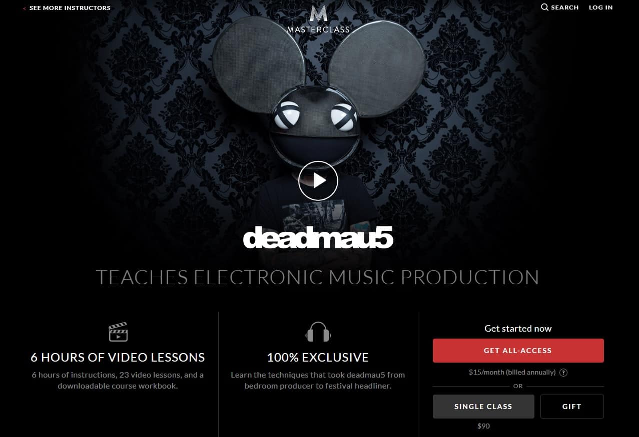 MasterClass Deadmau5 Music Production Lessons for Beginners