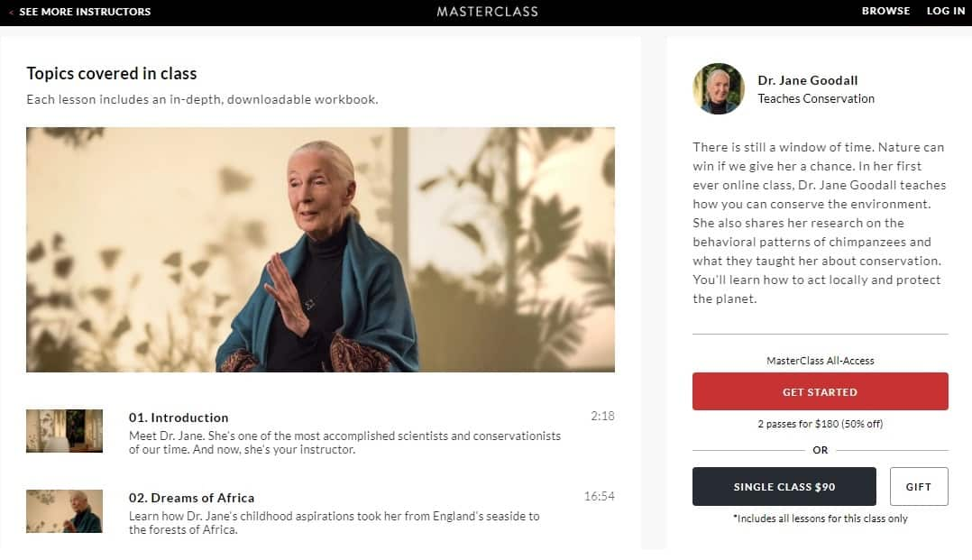 MasterClass Dr. Jane Goodall Conservation Lessons for Beginners