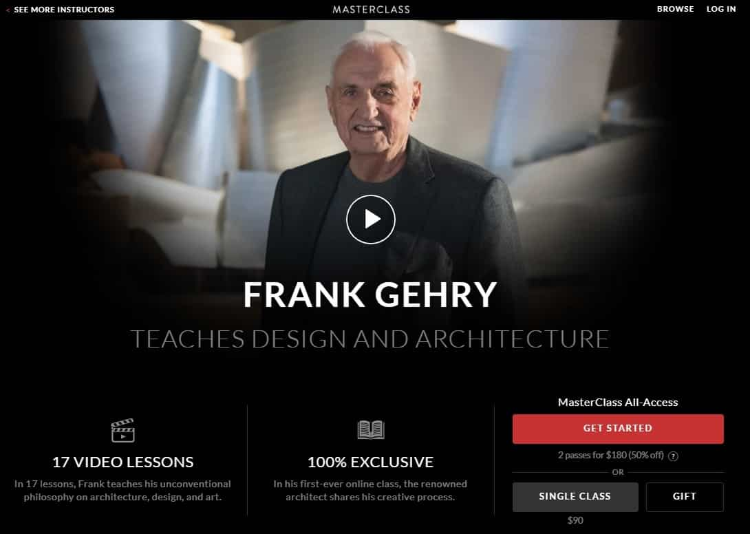 MasterClass Frank Gehry Design and Architecture Lessons for Beginners