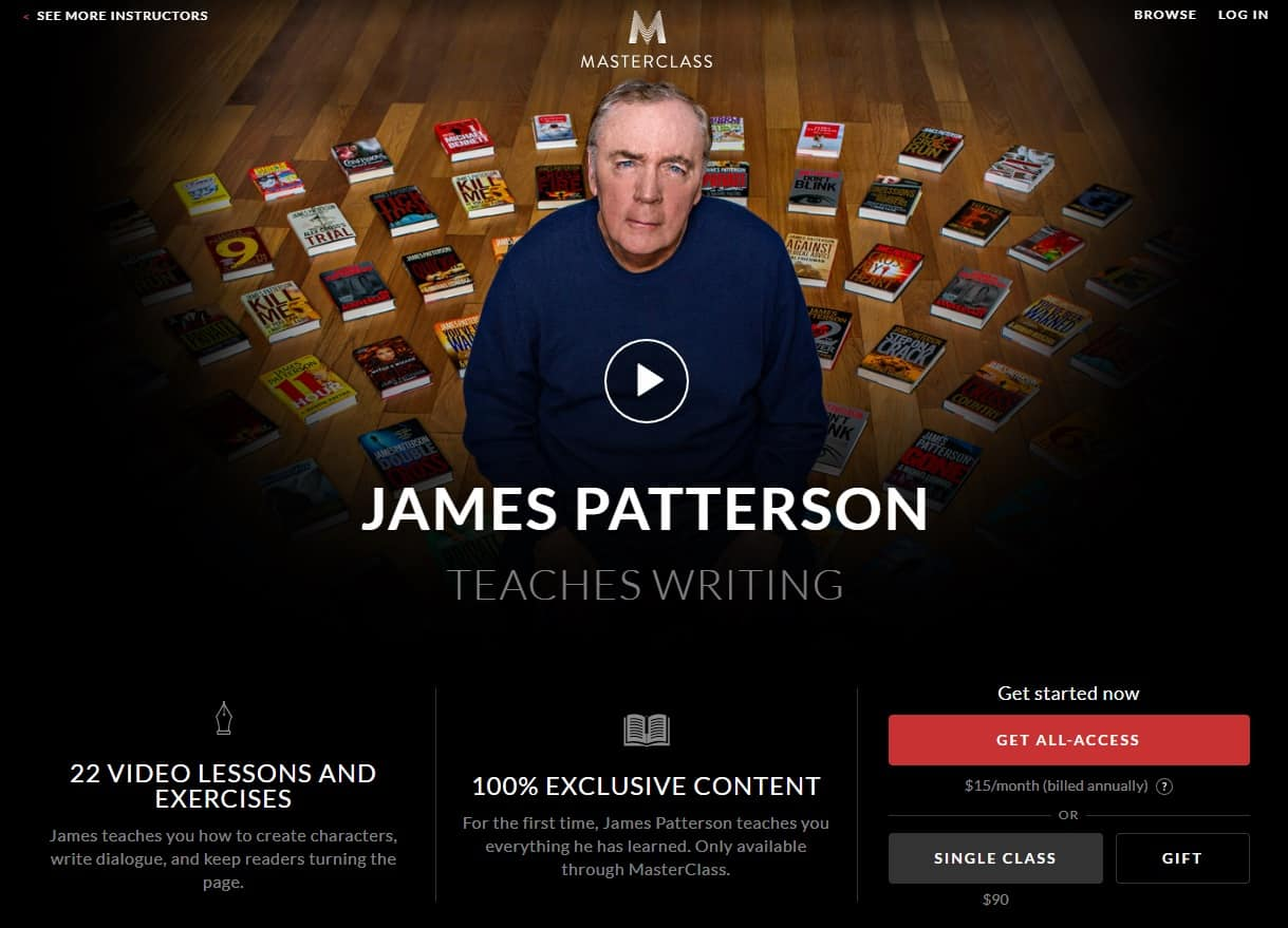 MasterClass James Patterson Writing Lessons for Beginners