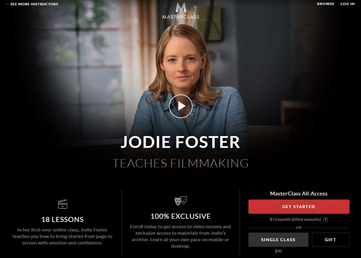 MasterClass Jodie Foster Filmmaking Lessons for Beginners