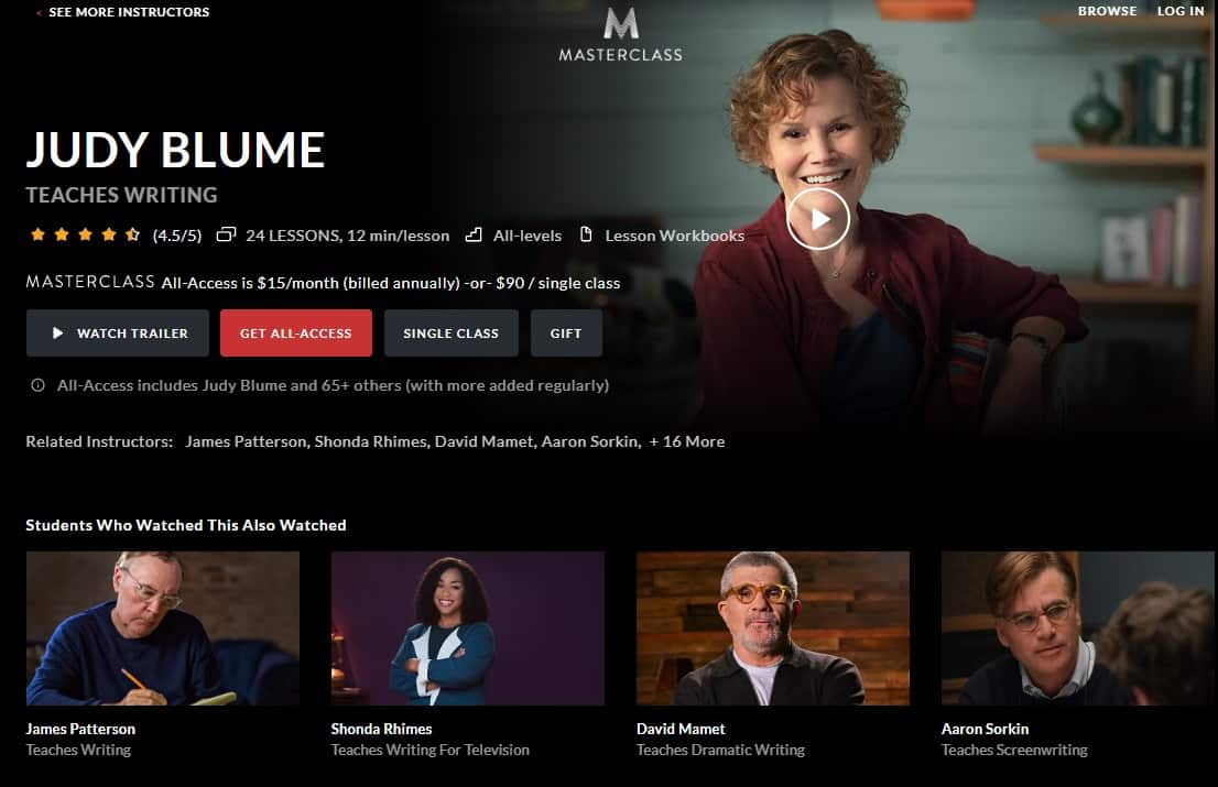MasterClass Judy Blume Writing Lessons for Beginners