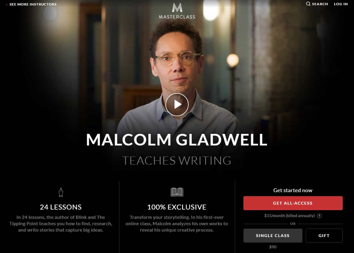 MasterClass Malcolm Gladwell Writing Lessons for Beginners