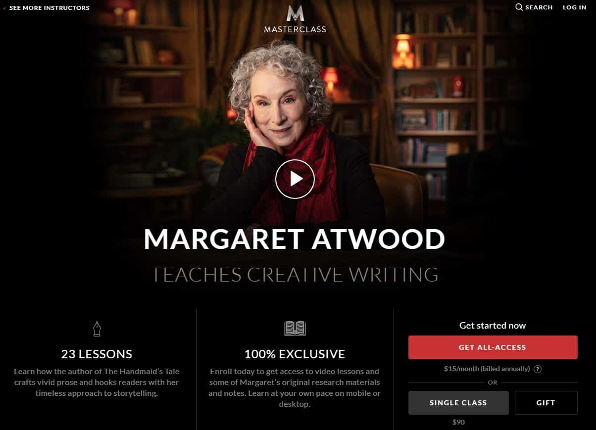 MasterClass Margaret Atwood Creative Writing Lessons for Beginners