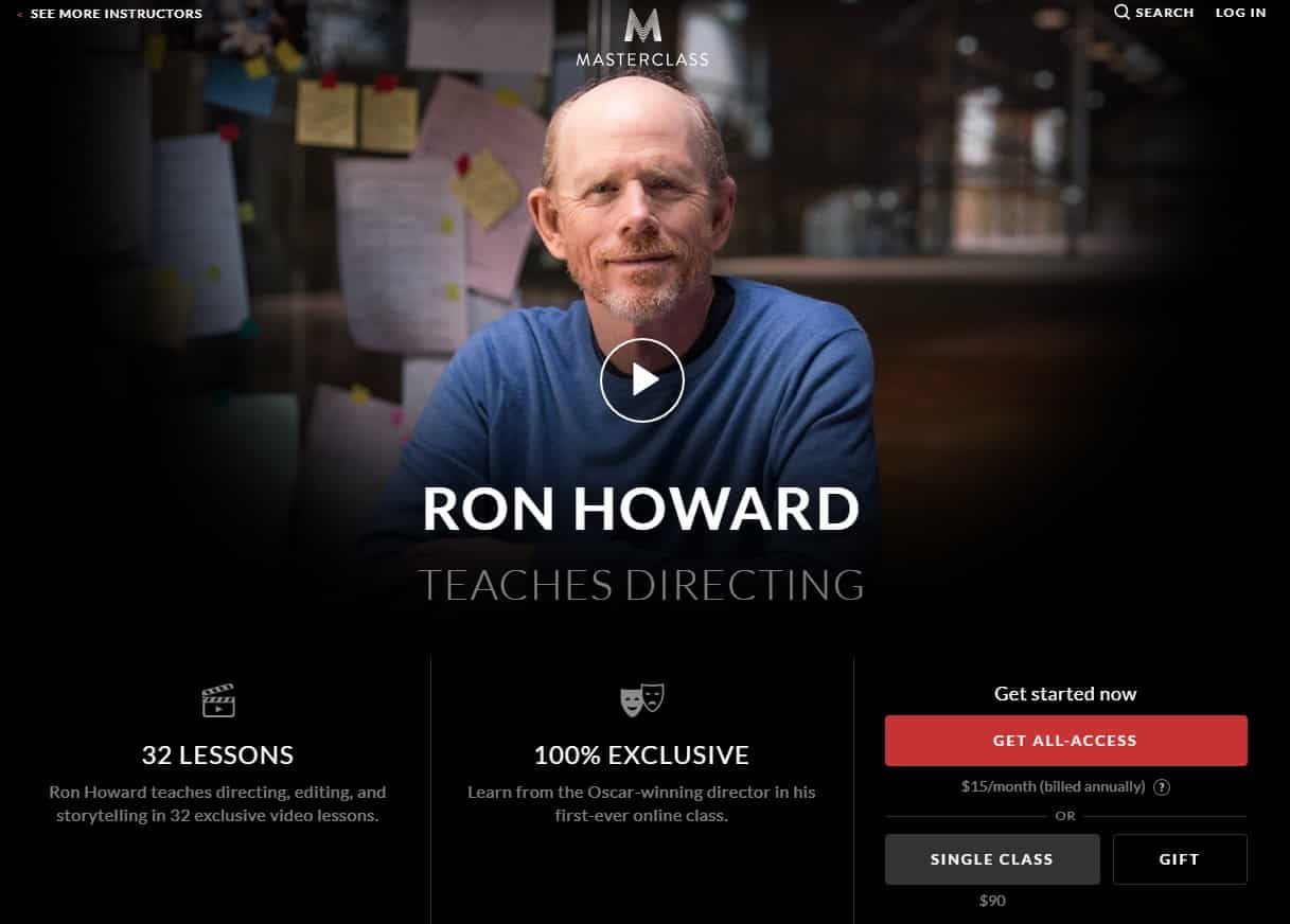 MasterClass Ron Howard Directing Lessons for Beginners