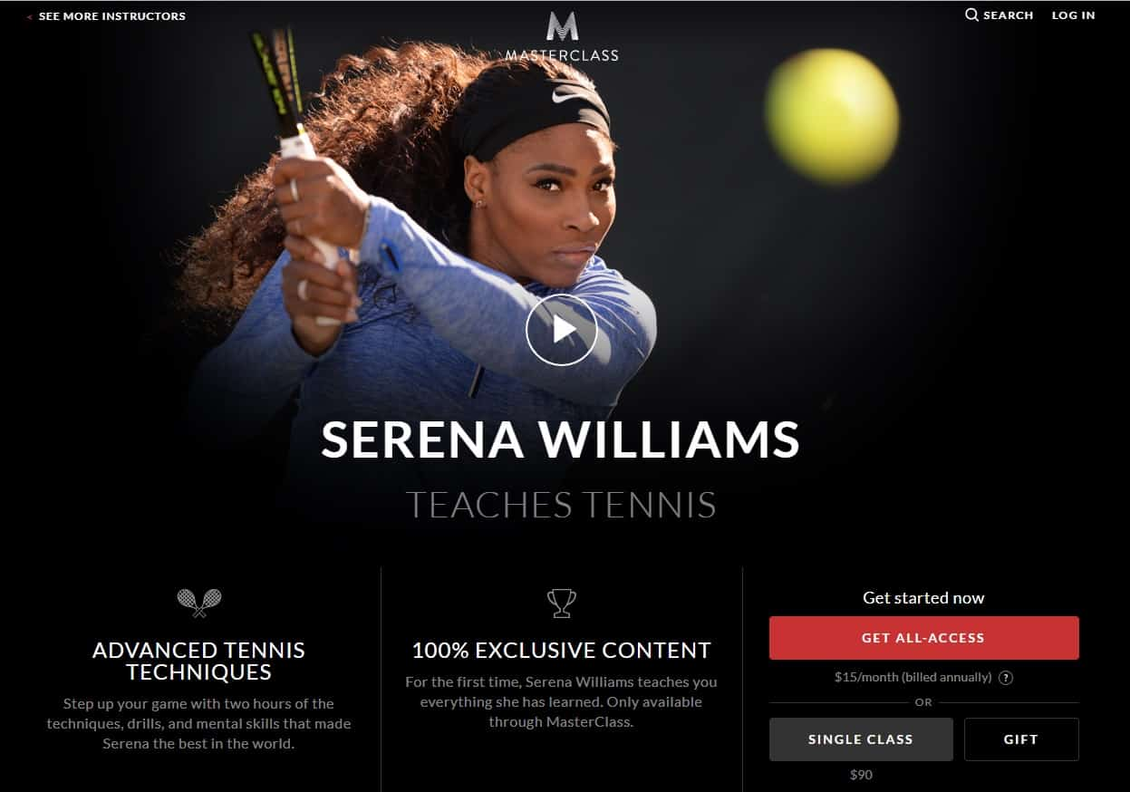 MasterClass Serena Williams Tennis Lessons for Beginners