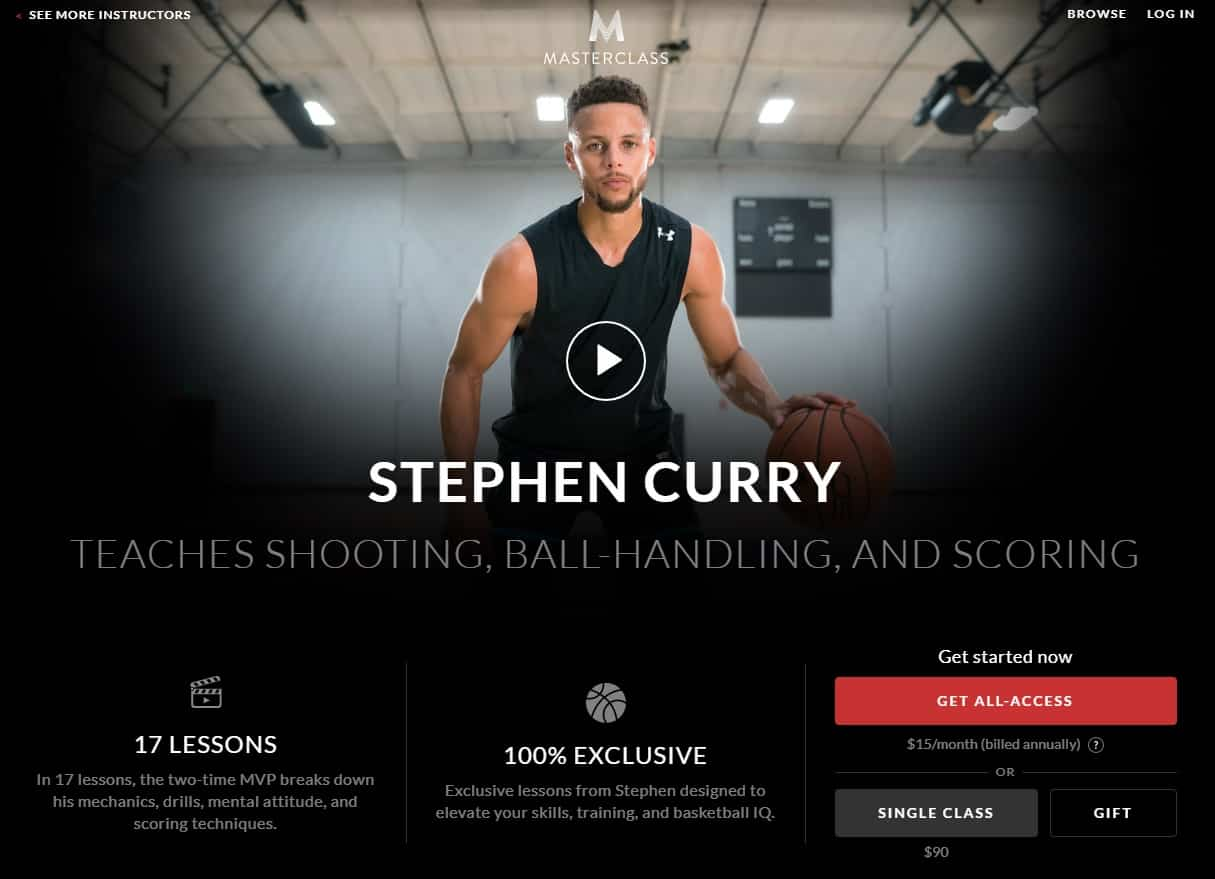 MasterClass Stephen Curry Shooting, Ball-Handling, and Scoring Lessons for Beginners