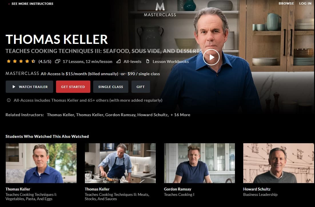 MasterClass Thomas Keller Cooking Techniques III Seafood, Sous Vide, and Desserts Lessons for Beginners