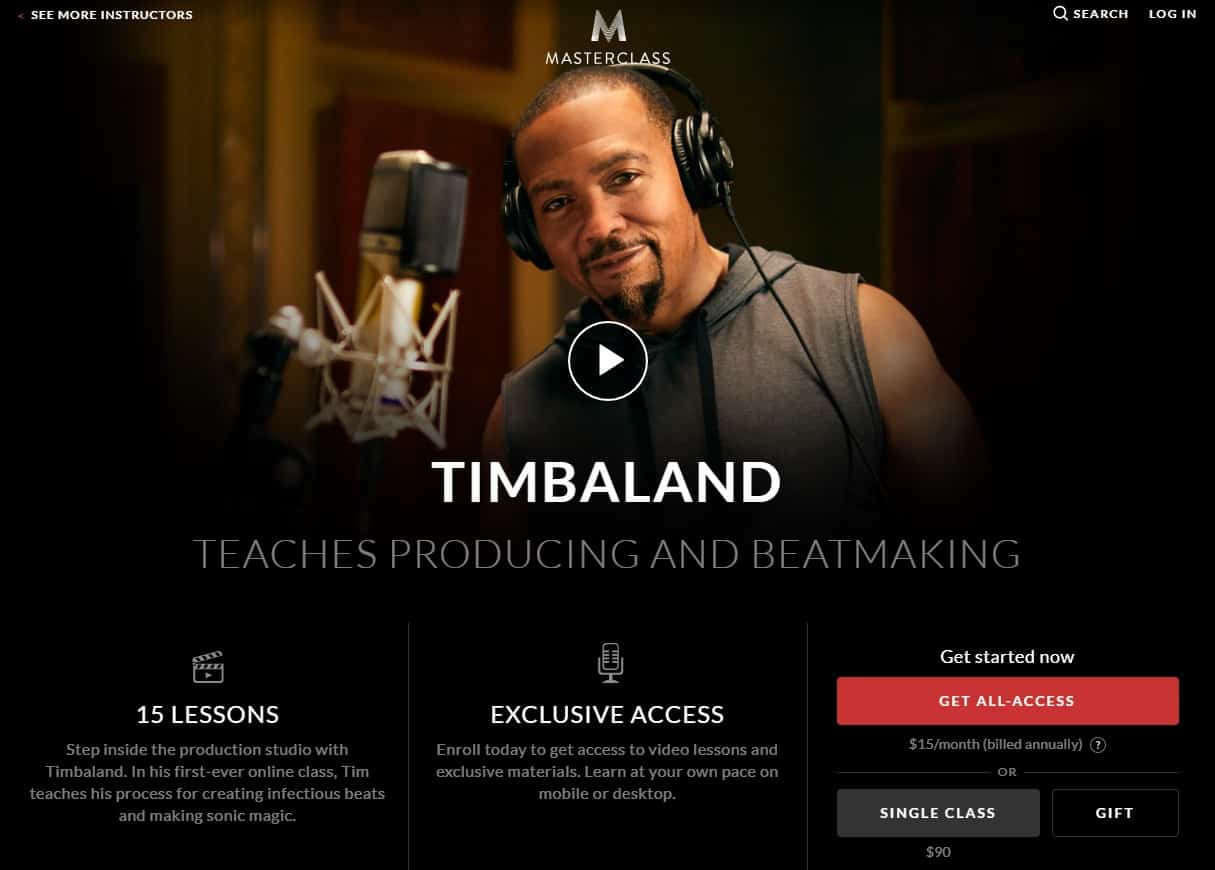 MasterClass Timbaland Producing and Beatmaking Lessons for Beginners