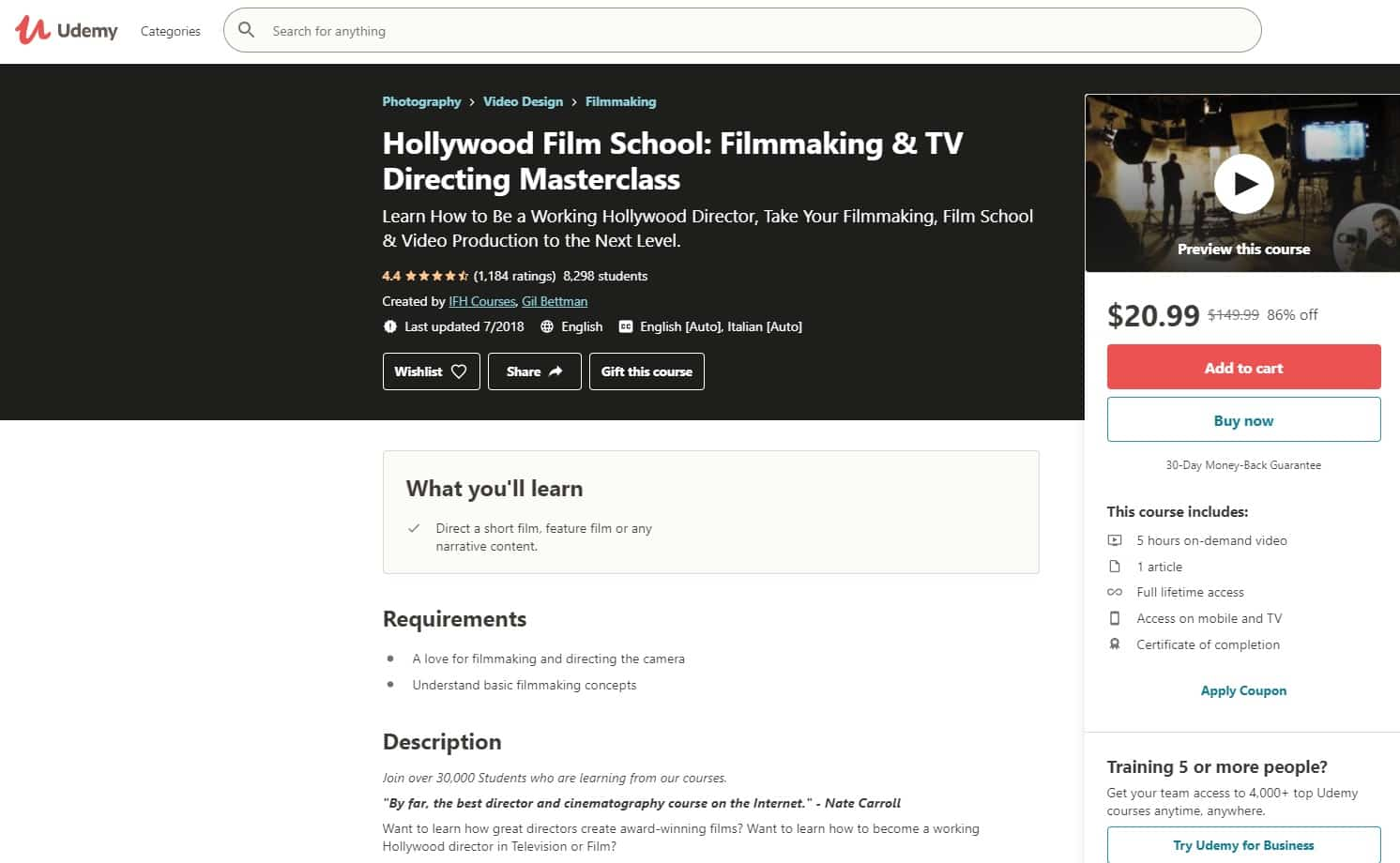 Udemy 1 Directing Lessons for Beginners