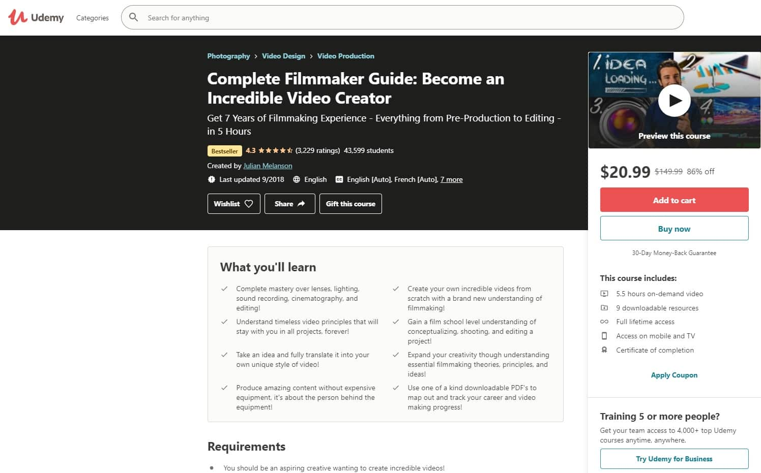 Udemy 1 Filmmaking Lessons for Beginners