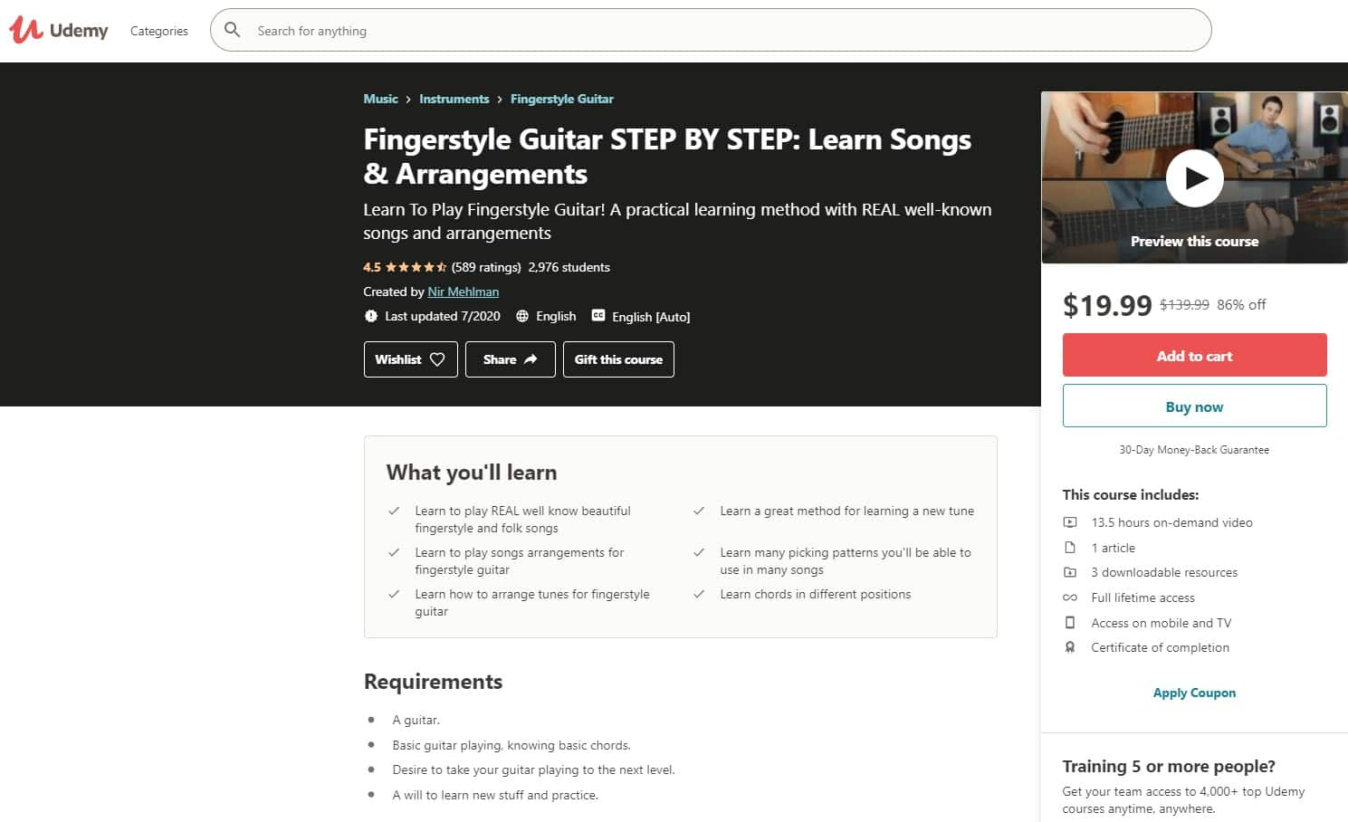 Udemy 1 Fingerstyle Guitar Lessons for Beginners