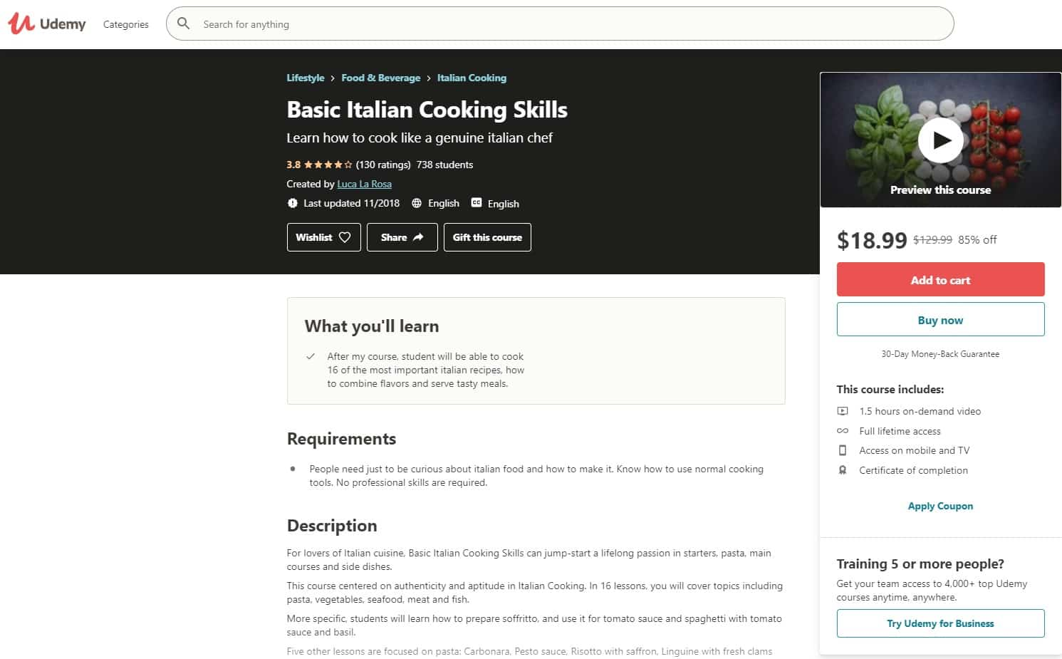 Udemy 1 Italian Cooking Lessons for Beginners