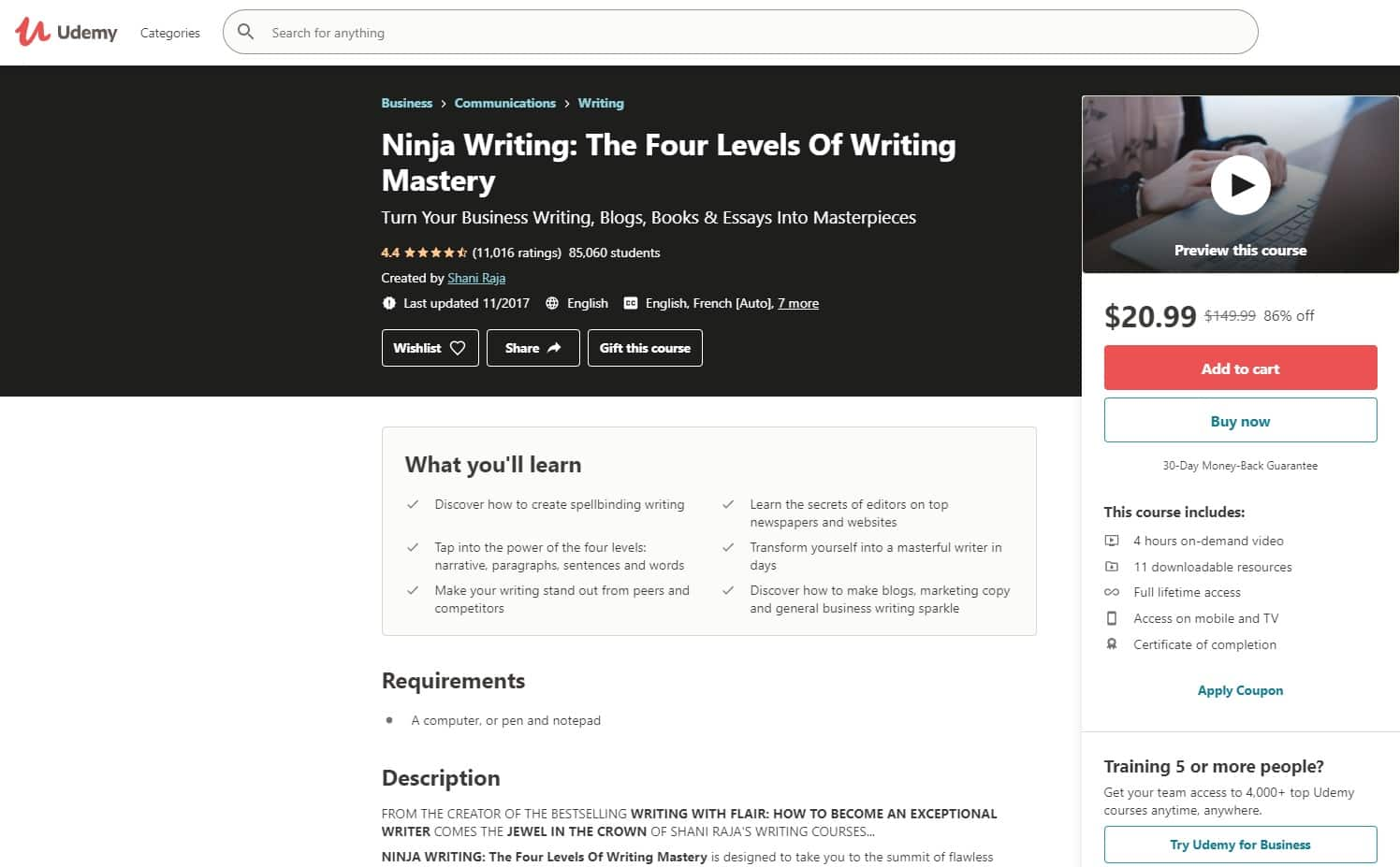 Udemy 1 Writing Lessons for Beginners