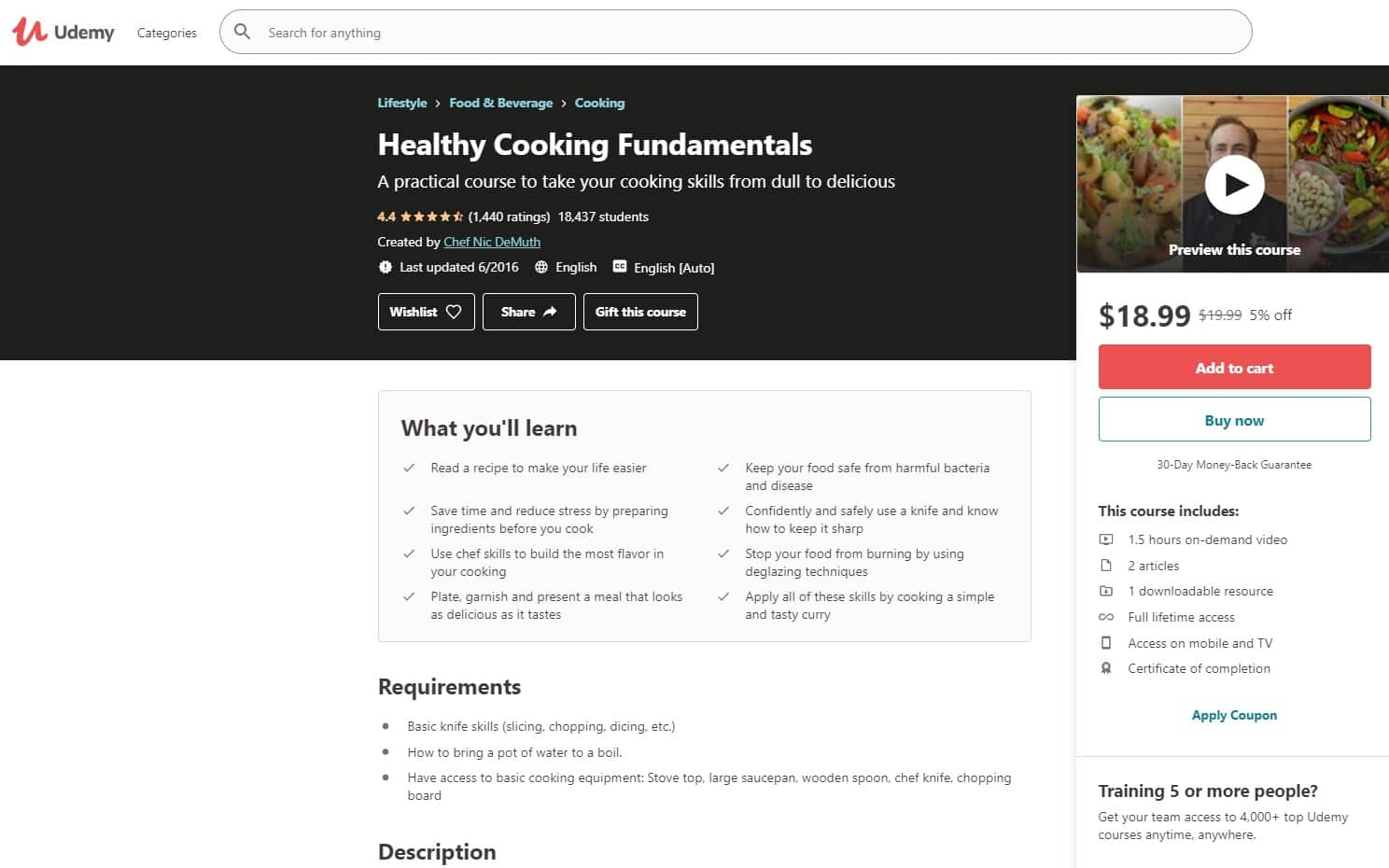 Udemy 2 Cooking Lessons for Beginners