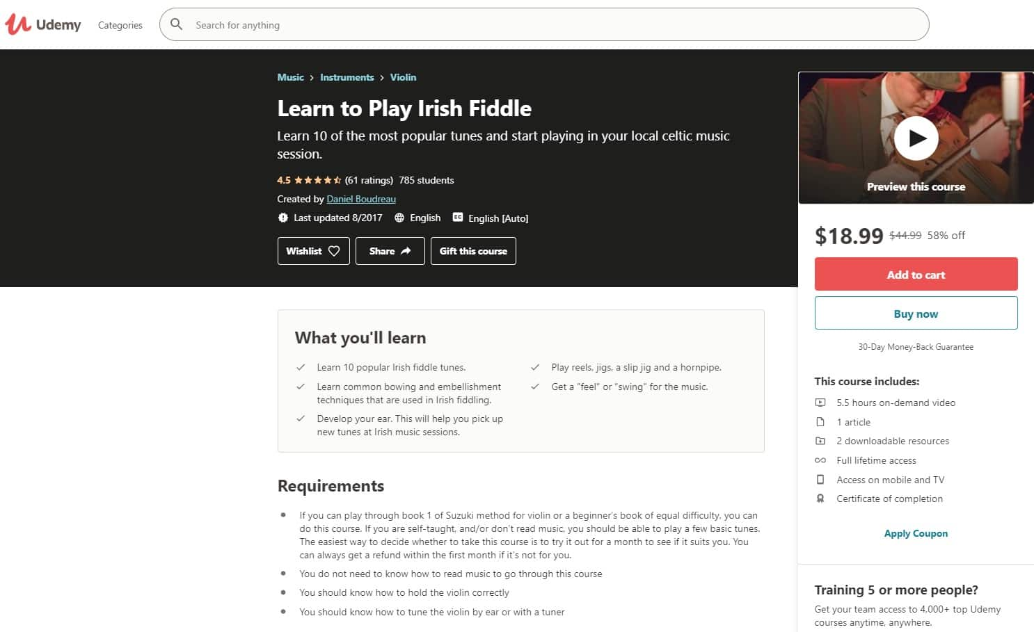 Udemy 2 Fiddle Lessons for Beginners
