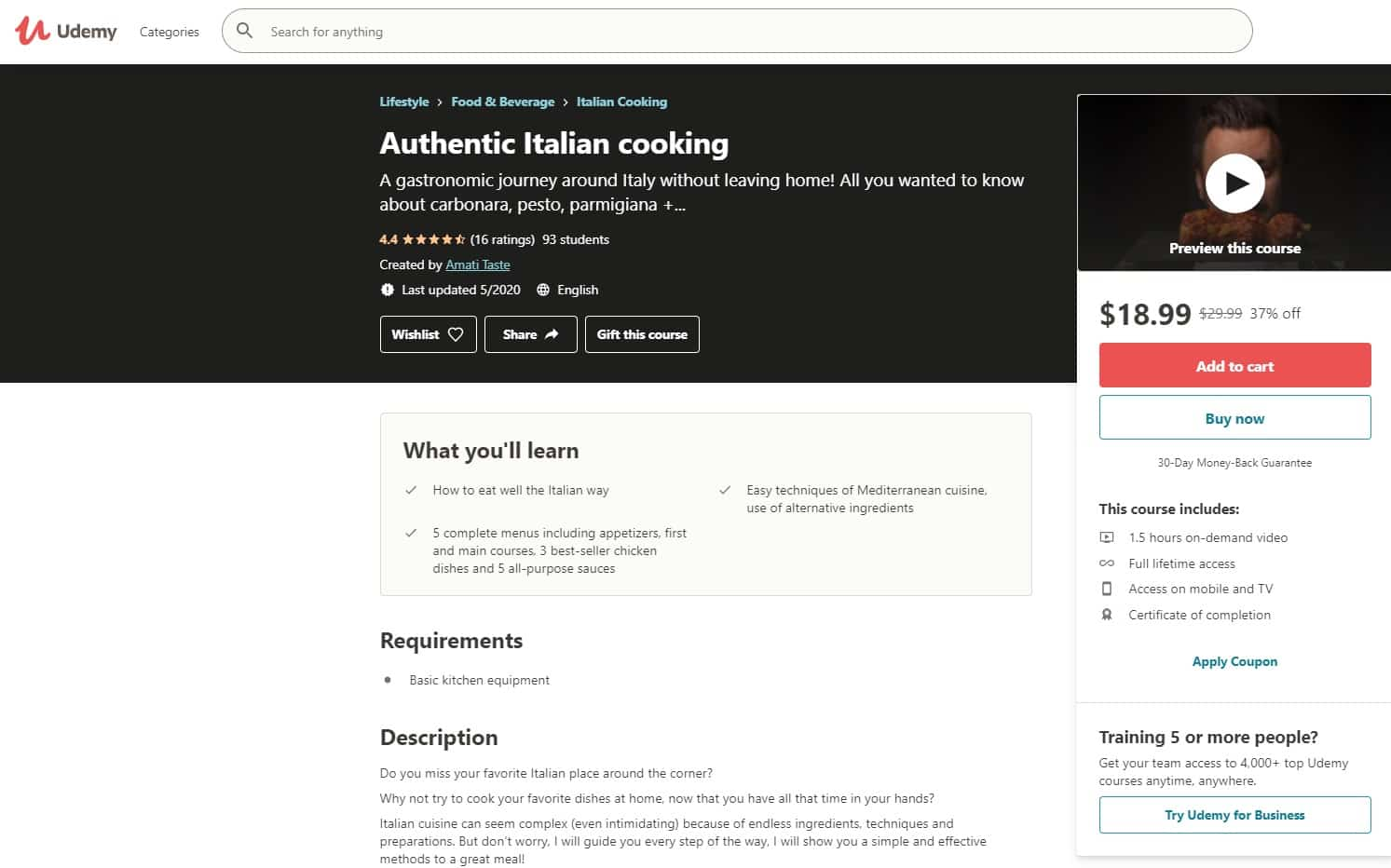 Udemy 2 Italian Cooking Lessons for Beginners
