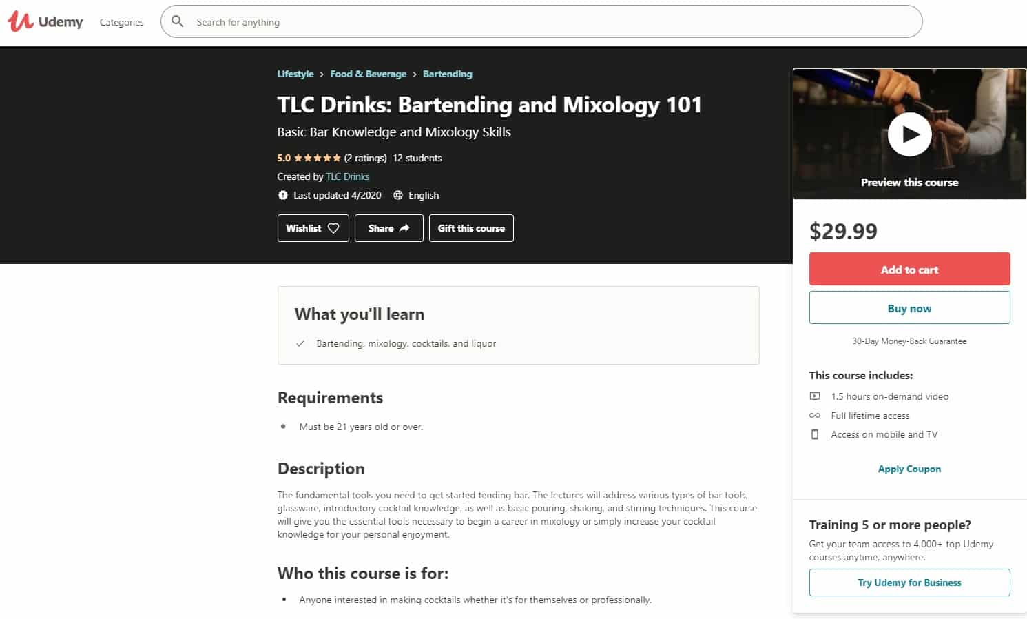 Udemy 2 Mixology Lessons for Beginners