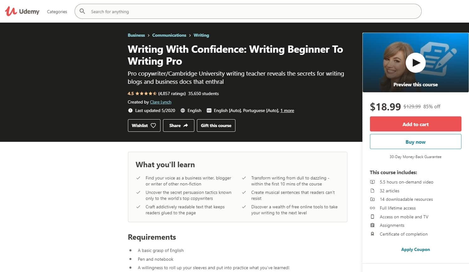 Udemy 2 Writing Lessons for Beginners